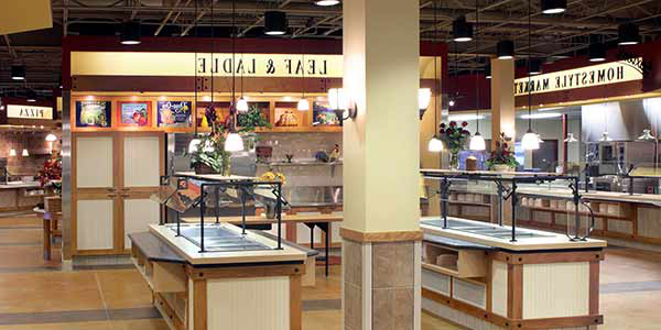 A part of Union Market that includes the salad bar, fruit bar, and Homestyle Market (the pizza counter can be also be seen in the distance)